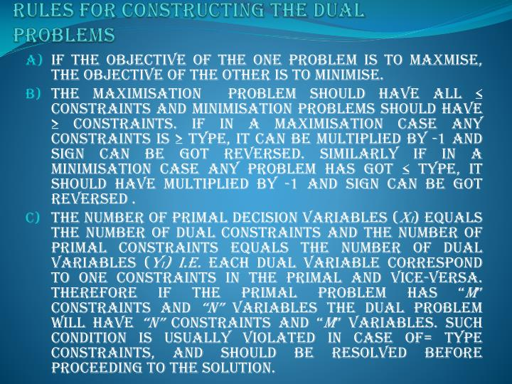 RULES FOR CONSTRUCTING THE DUAL PROBLEMS
