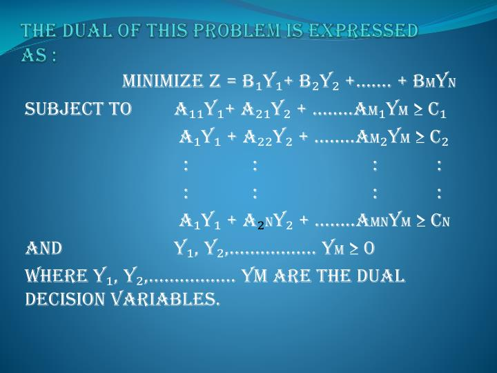 The dual of this problem is expressed as :