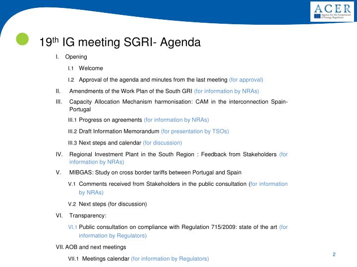 19 th ig meeting sgri agenda