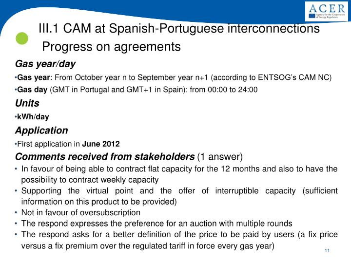 III.1 CAM at Spanish-Portuguese interconnections
