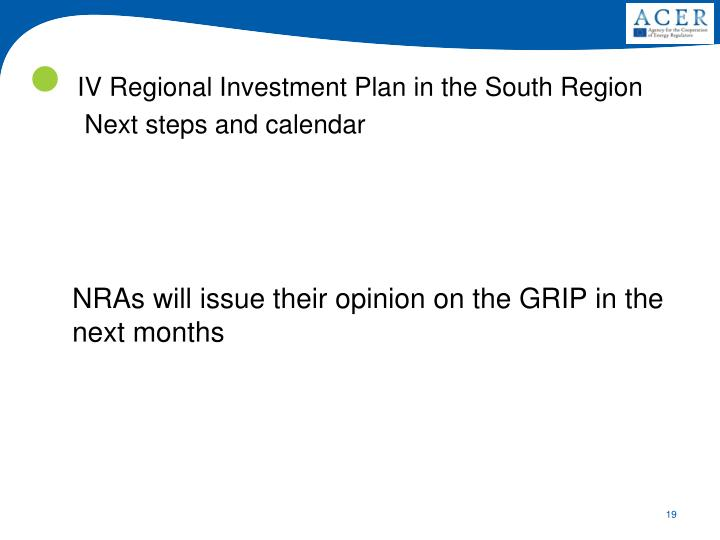 IV Regional Investment Plan in the South Region