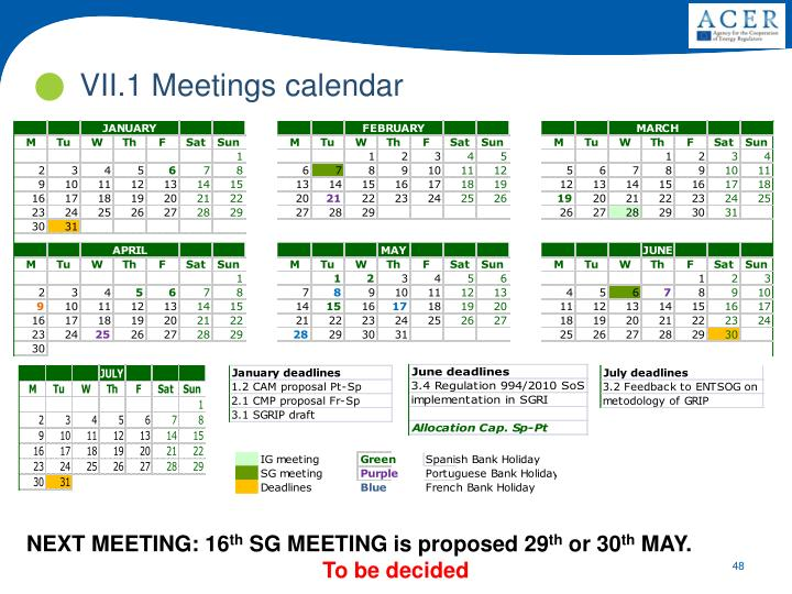 VII.1 Meetings calendar
