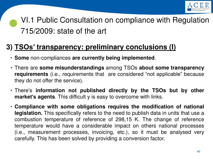 VI.1 Public Consultation on compliance with Regulation 715/2009: state of the art