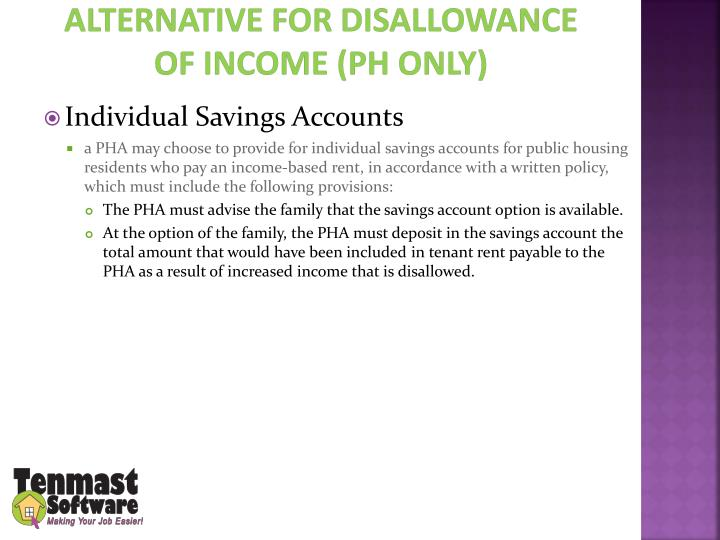 Alternative for disallowance of income (PH Only)