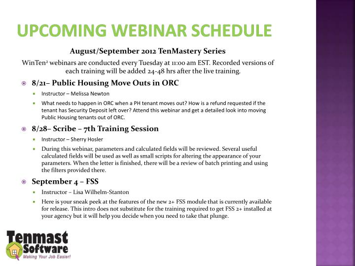 Upcoming webinar schedule
