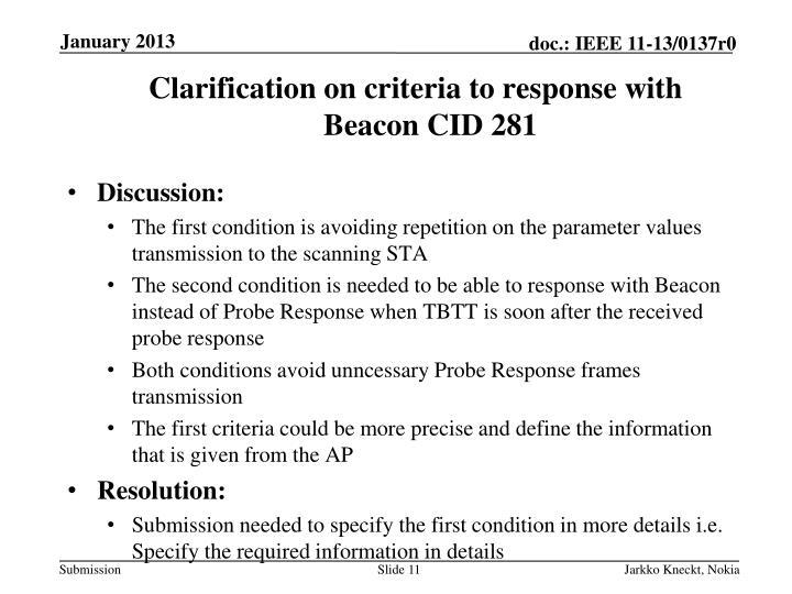 Clarification on criteria to response with Beacon CID 281