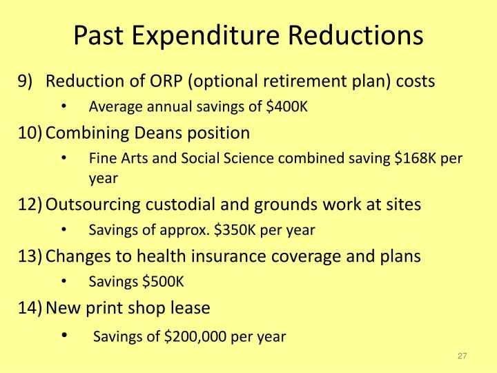 Past Expenditure Reductions