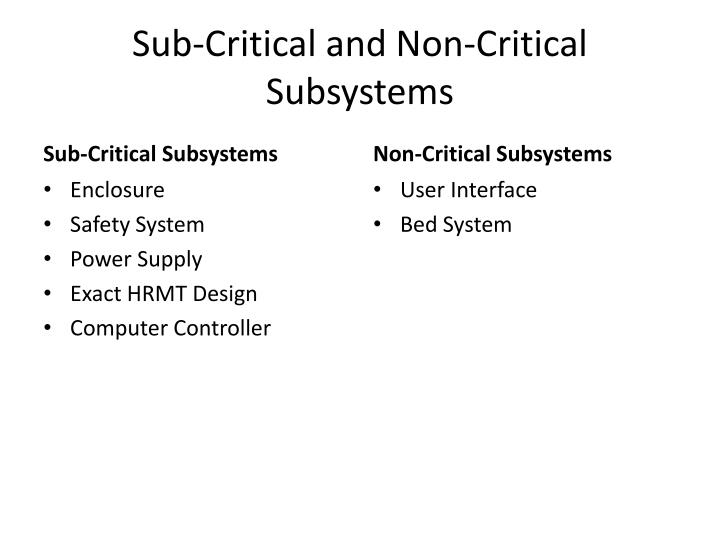 Sub-Critical and Non-Critical Subsystems