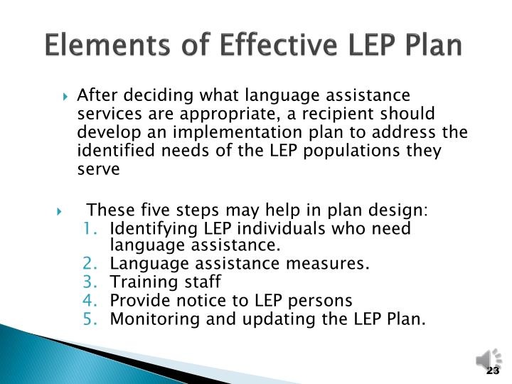 Elements of Effective LEP Plan