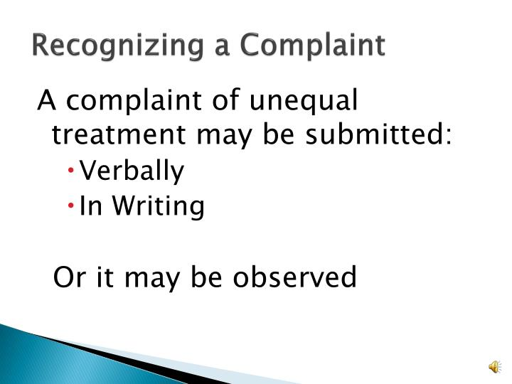 Recognizing a Complaint