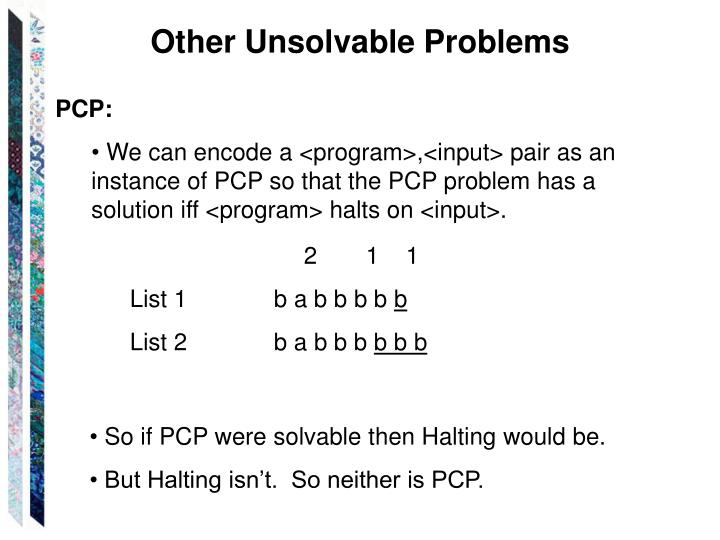 Other Unsolvable Problems