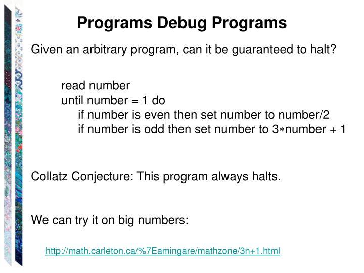 Programs Debug Programs