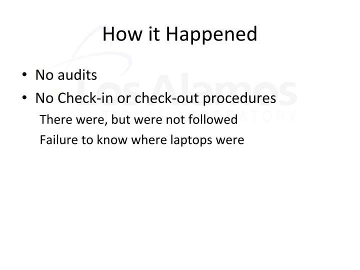 How it Happened
