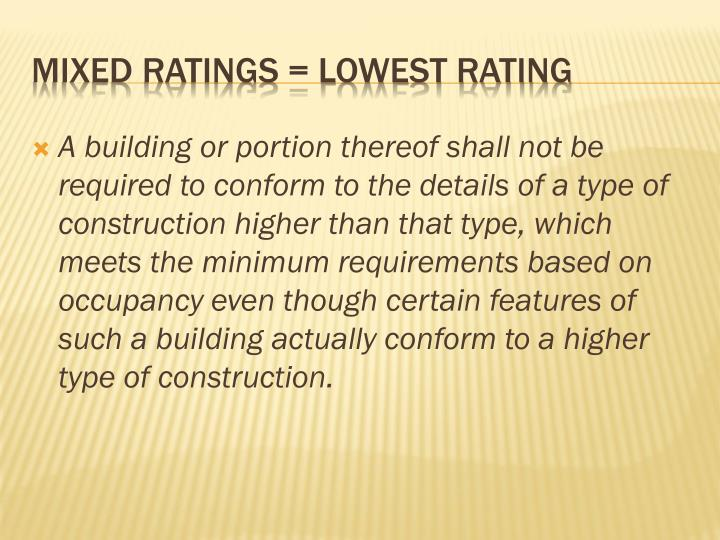 A building or portion thereof shall not be required to conform to the details of a type