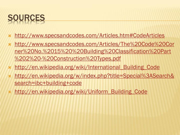 http://www.specsandcodes.com/Articles.htm#CodeArticles