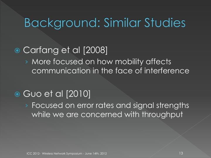 Background: Similar Studies