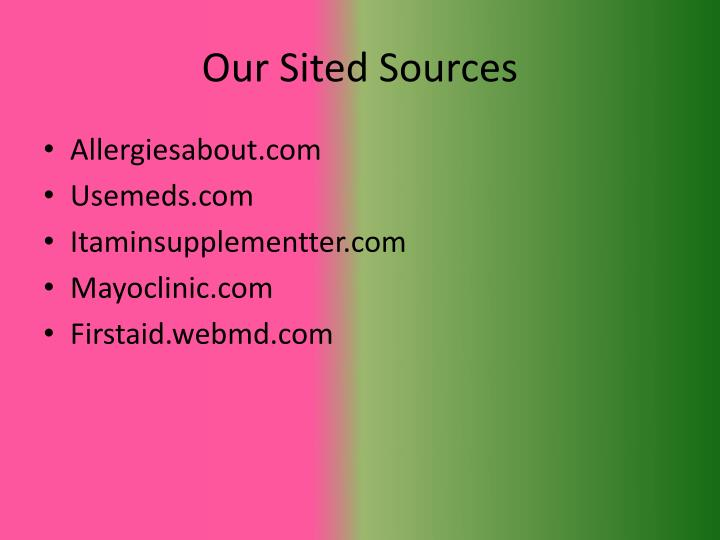 Our Sited Sources