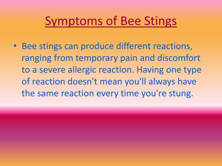 Symptoms of Bee Stings