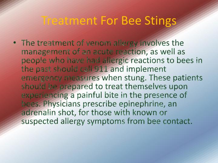 Treatment For Bee Stings