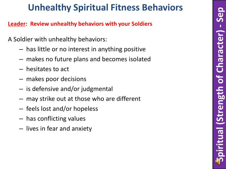 Unhealthy Spiritual Fitness Behaviors
