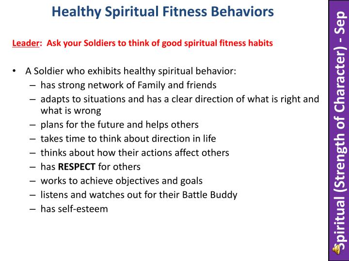 Healthy Spiritual Fitness Behaviors