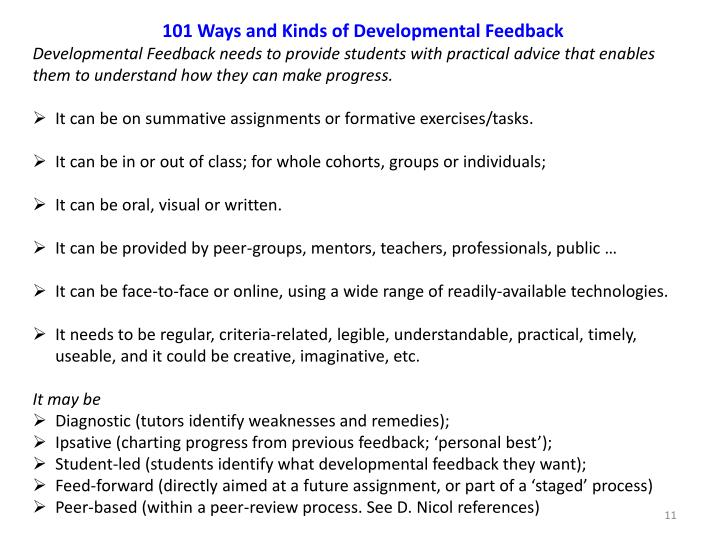 101 Ways and Kinds of Developmental Feedback
