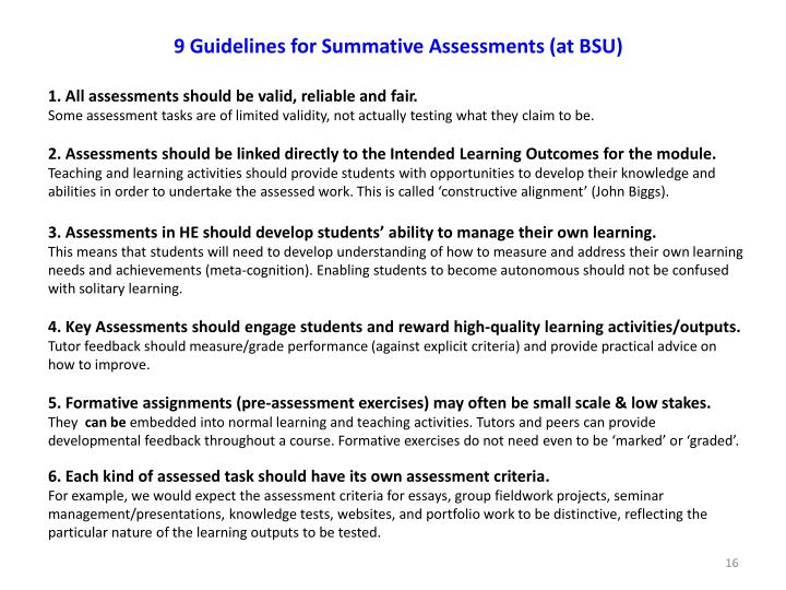 9 Guidelines for Summative Assessments (at BSU)