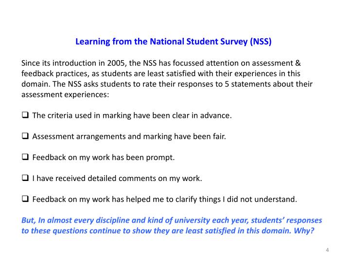 Learning from the National Student Survey (NSS