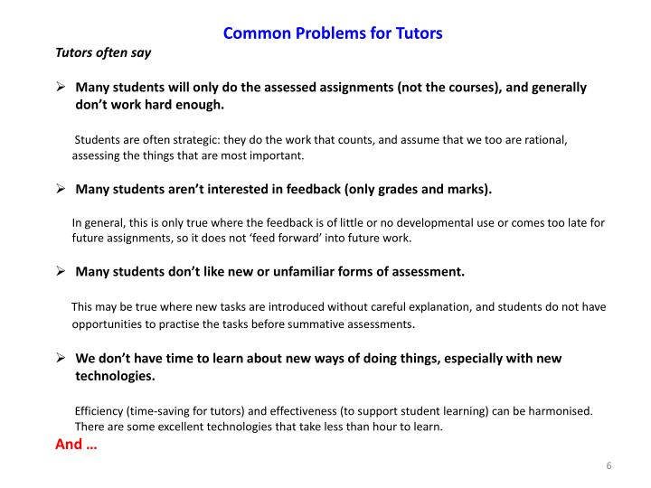 Common Problems for Tutors