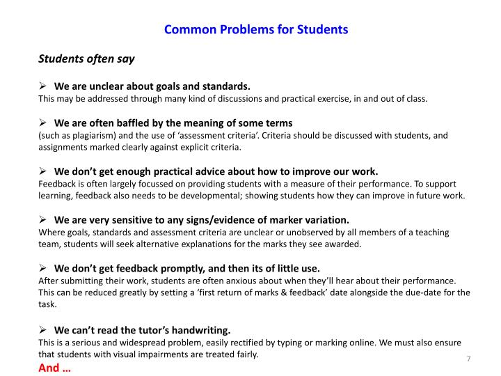 Common Problems for Students