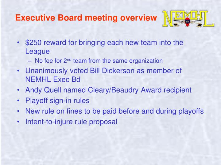 Executive Board meeting overview