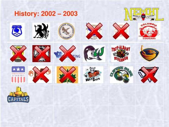 History: 2002 – 2003