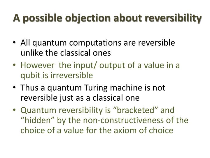 A possible objection about reversibility