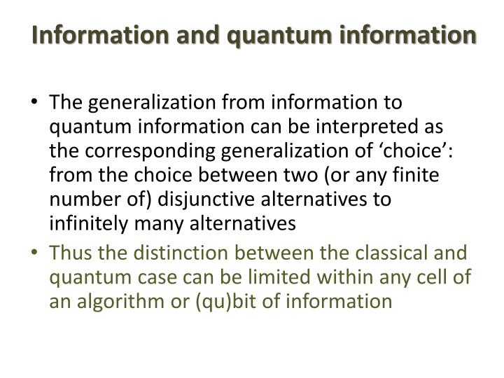 Information and quantum information