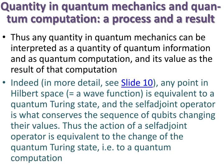 Quantity in quantum mechanics and