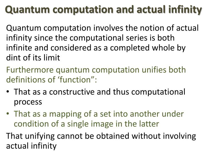 Quantum computation and actual infinity