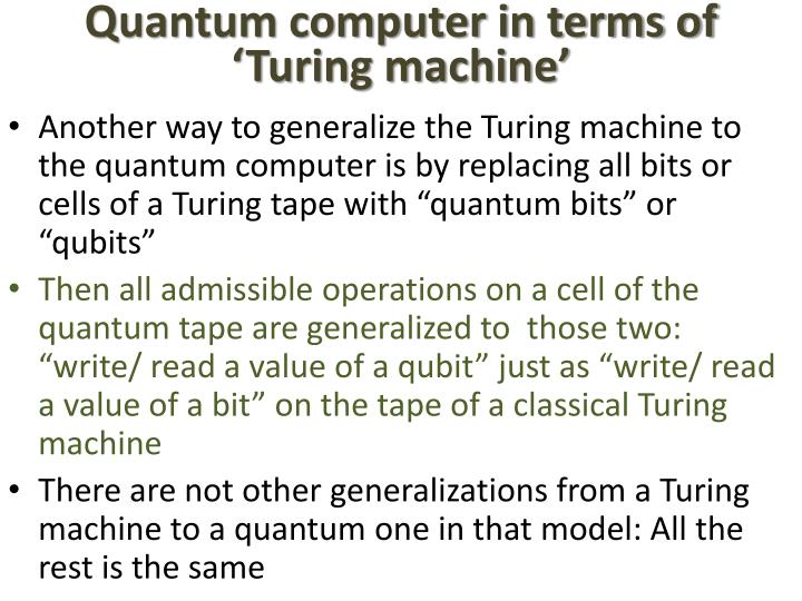 Quantum computer in terms of 'Turing machine'