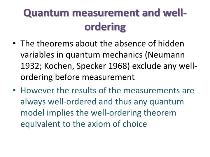 Quantum measurement and well-ordering