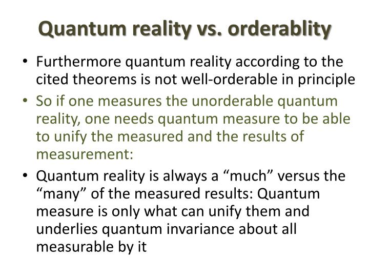 Quantum reality vs.