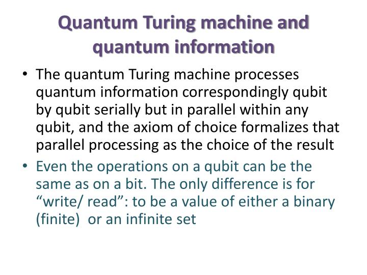 Quantum Turing machine and quantum information
