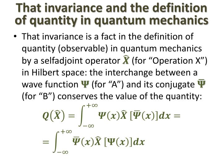 That invariance and the definition