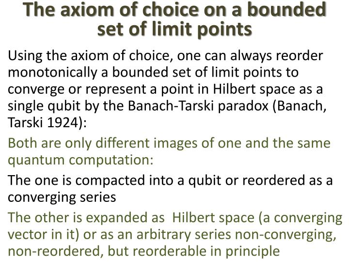The axiom of choice on a bounded set of limit points