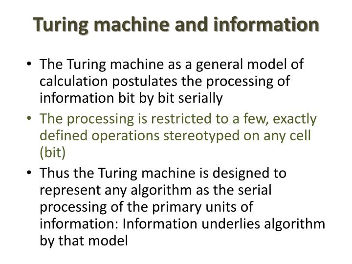 Turing machine and information