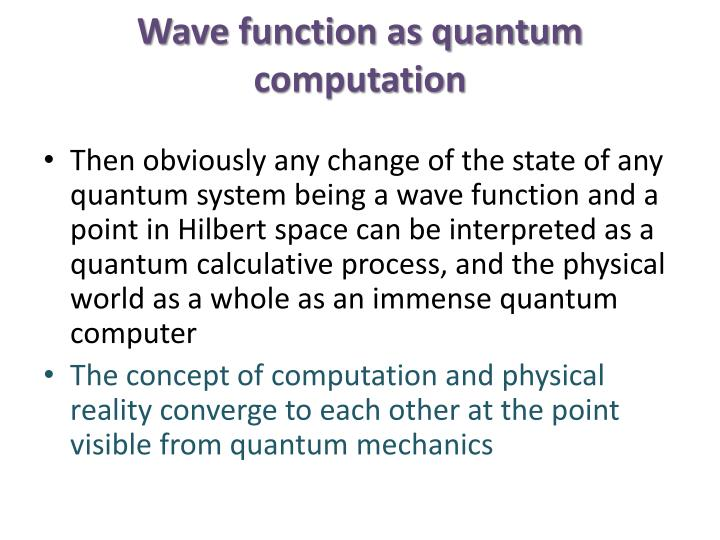 Wave function as quantum computation