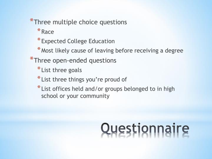 Three multiple choice questions