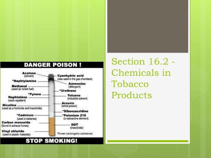 Section 16.2 - Chemicals in Tobacco Products