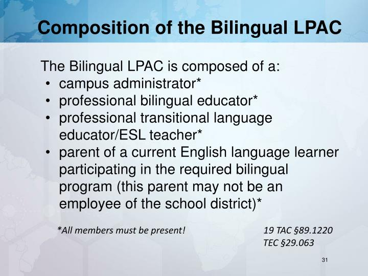 Composition of the Bilingual LPAC