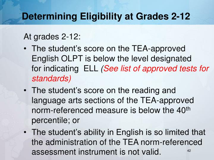Determining Eligibility at Grades 2-12