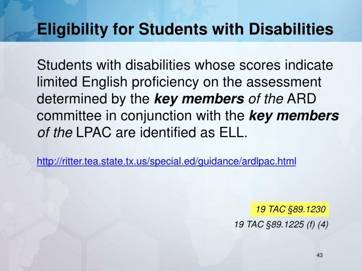 Eligibility for Students with Disabilities