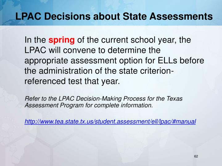 LPAC Decisions about State Assessments